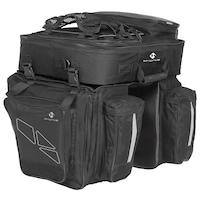 Kerékpáros oldaltáska, biciklis túratáska csomagtartóra, 3 részes, fekete