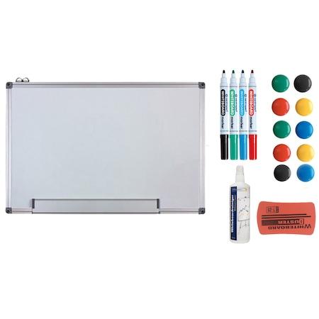 Pachet tabla alba magnetica, 60x90 cm si accesorii: markere, burete, magneti, spray curatare