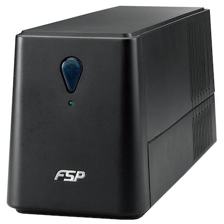 FSP EP 850 SP szünetmentes tápegység, Line-interactive, 850VA/480W, 2 x Schuko, 12 V/4.5 Ah x 1, 4.9 kg, RJ-11 portvédelem, USB/RS-232 kommunikációs portok, AVR