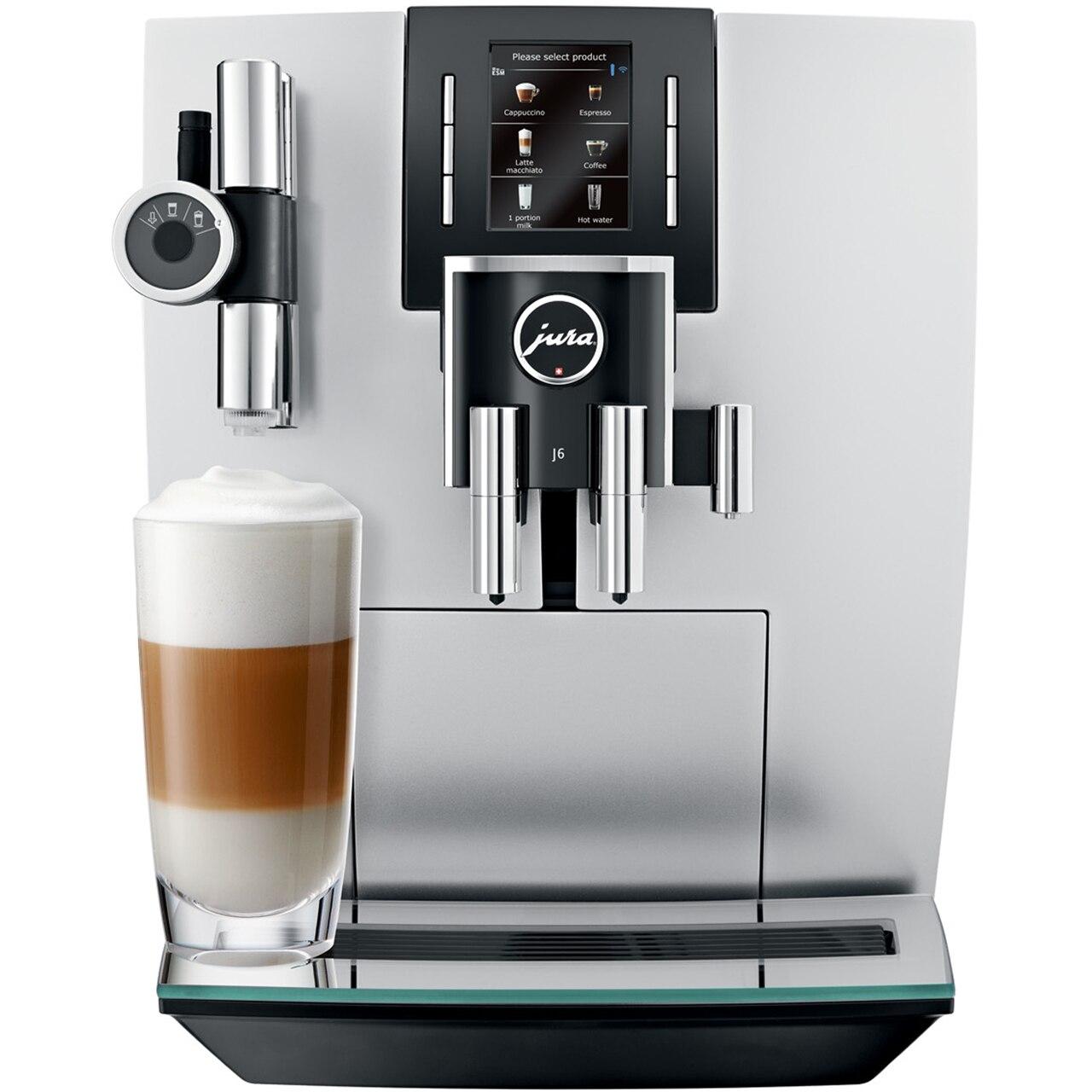 Fotografie Espressor automat Jura J6, 15 bari, 2.1 l, 250 gr, rasnita AromaG3, 13 specialitati one touch, afisaj, Argintiu