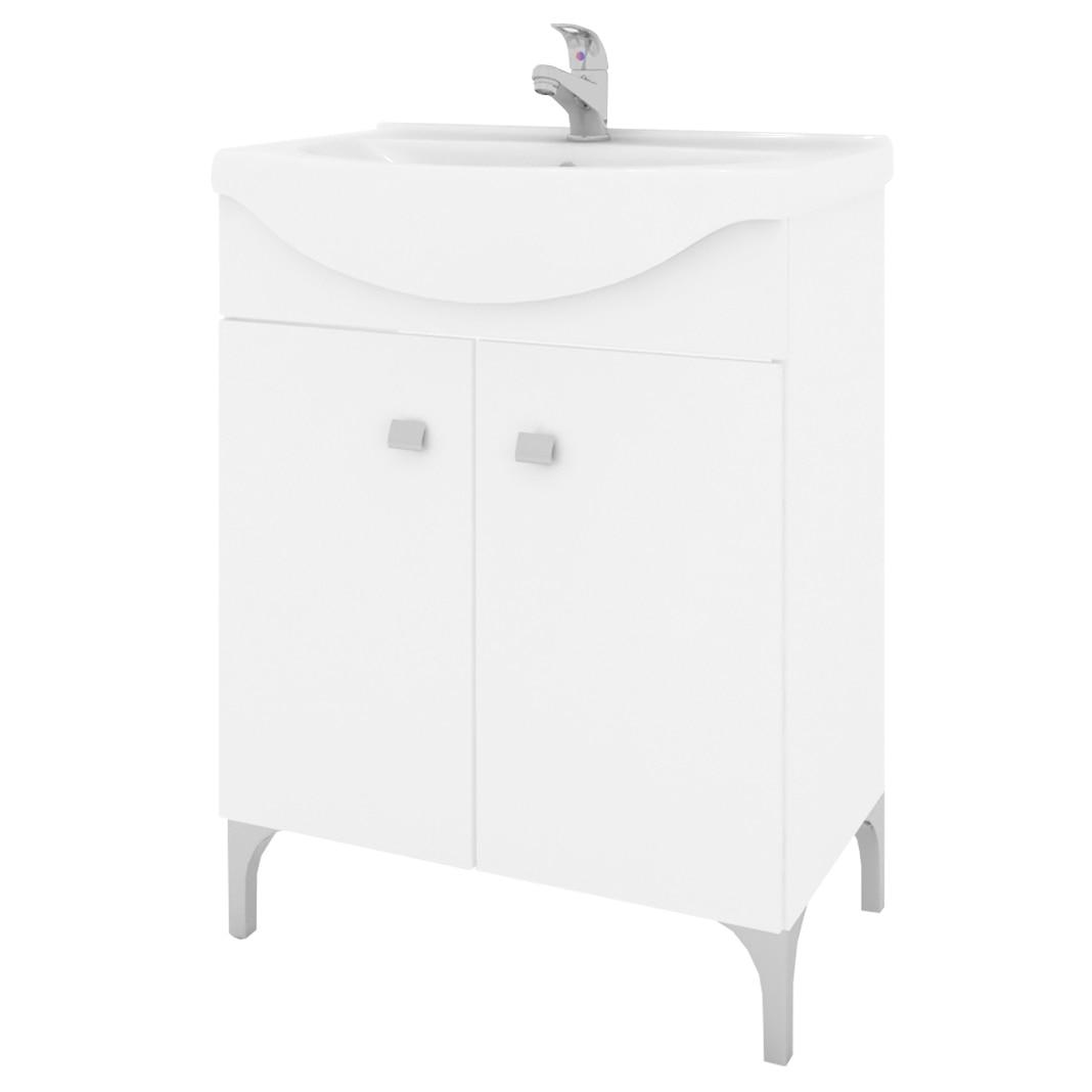Fotografie Baza mobilier Kring Basic, cu doua usi si lavoar ceramic, 56.5x86x42.5cm, Alb