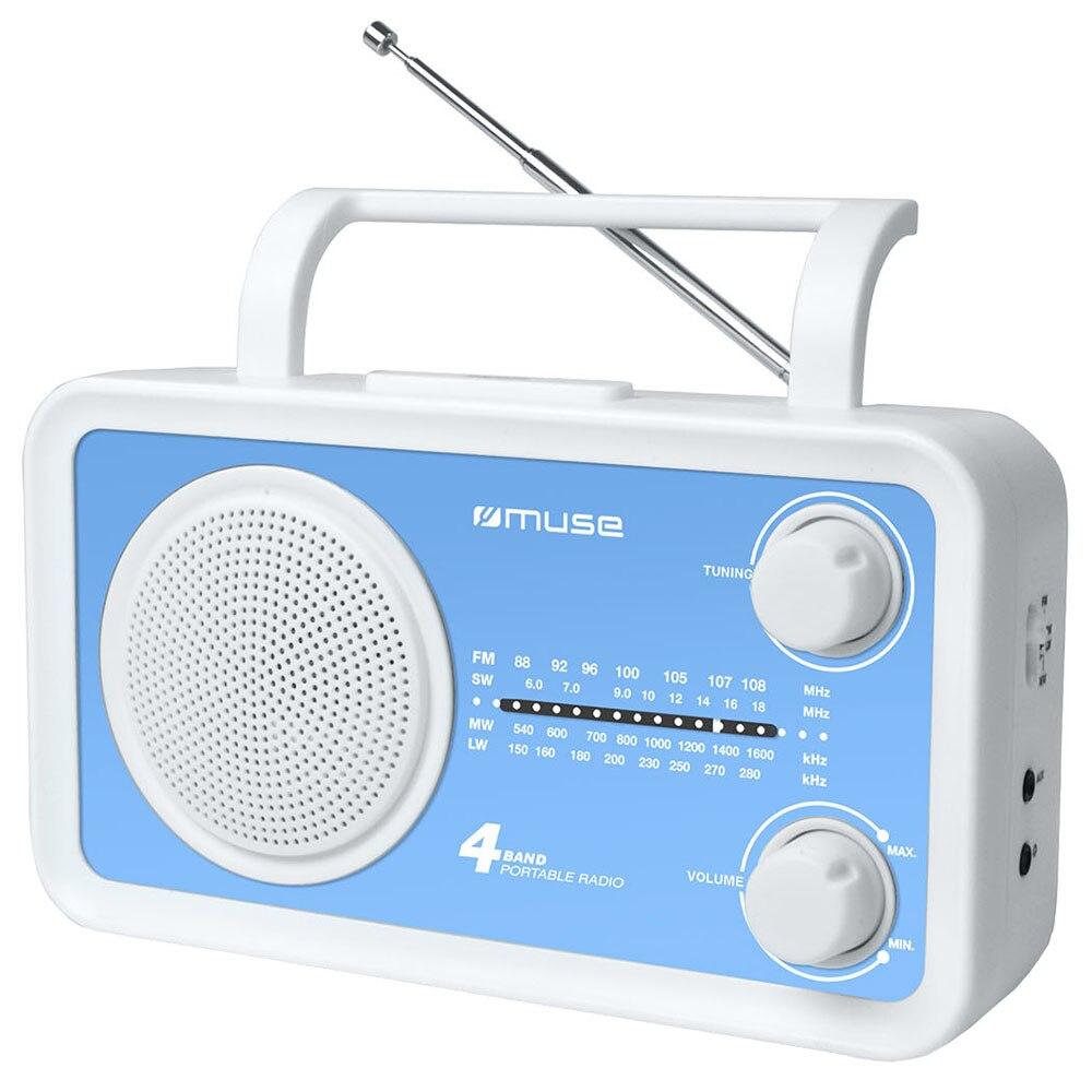 Fotografie Radio portabil Muse M-05 BL, 4-Band Analog, Boxa frontala, Alb