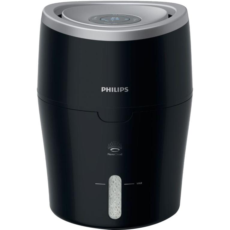 Fotografie Umidificator de aer Philips HU4813/10, Tehnologie NanoCloud, Rezervor 2l, Acoperire 44mp, Umidificare 300 ml/h, Led, Negru