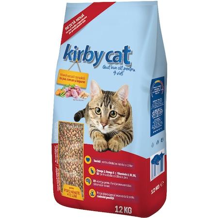 Hrana uscata pentru pisici Kirby Cat, Pui, curcan si legume, 12Kg