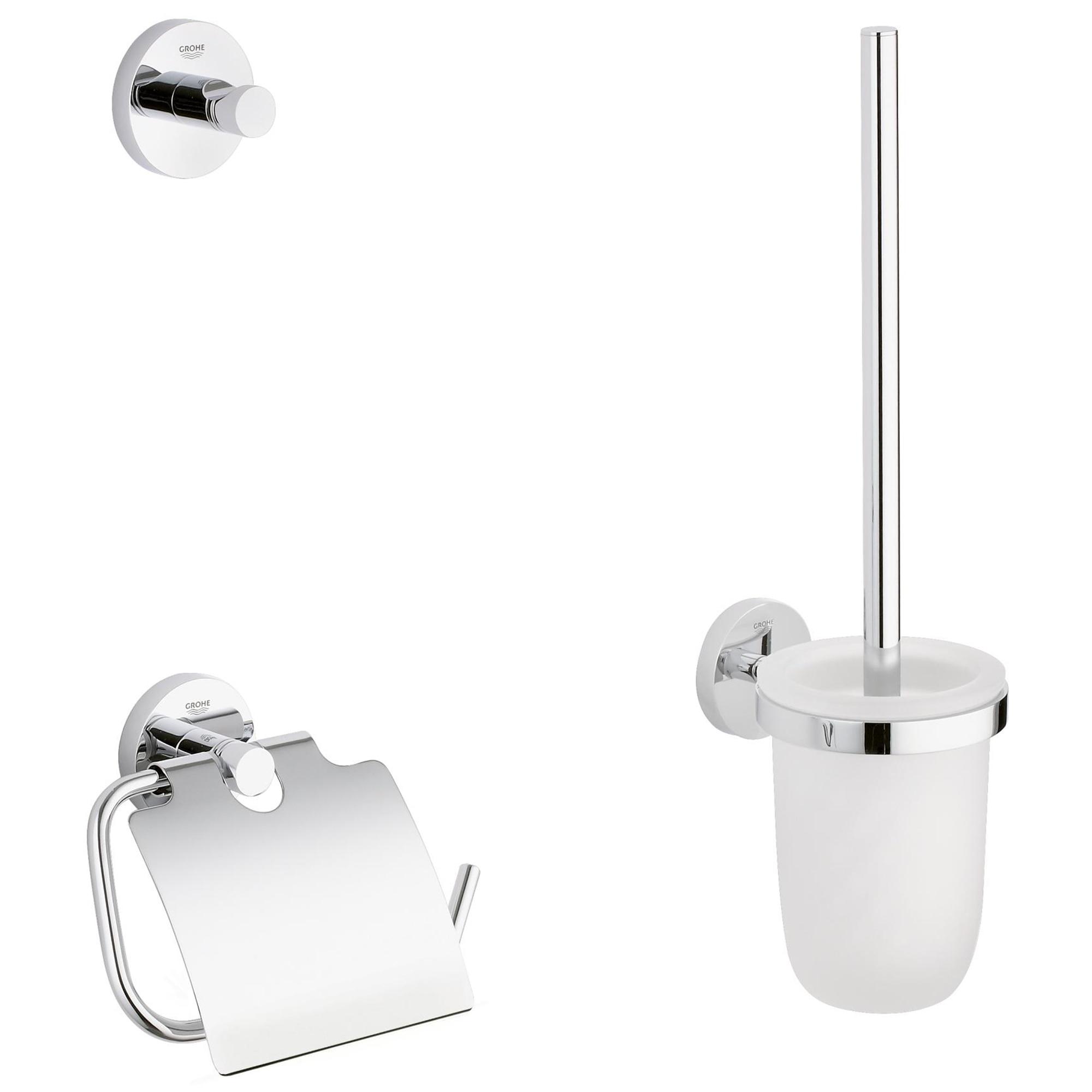 Fotografie Set accesorii baie Grohe Essentials City 3 in 1, perie WC cu suport, suport hartie igienica, cuier prosop, fixare ascunsa, crom