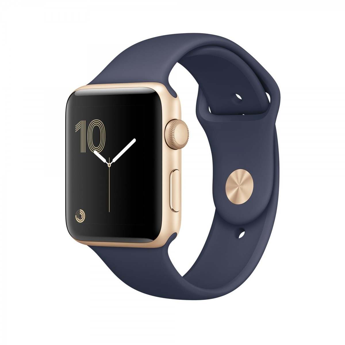 Fotografie Apple Watch 2 cu carcasa din aluminiu gold, 42mm, Midnight Blue Sport Band