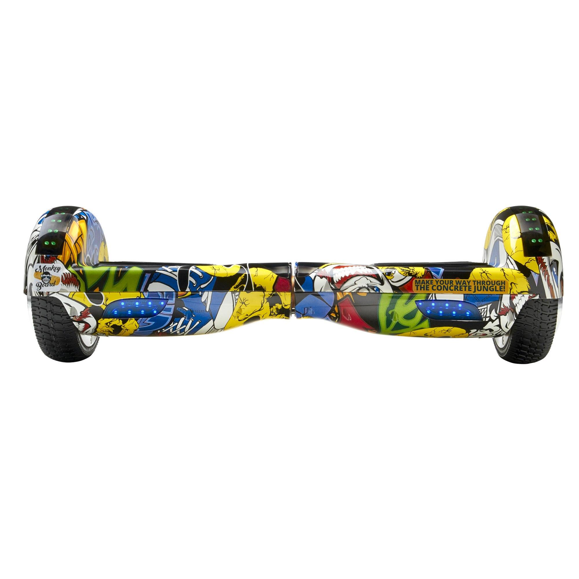 Fotografie Hoverboard Original MonkeyBoard® Grafitti Cool, Scuter electric,roti 6.5 inch,telecomanda wireless,bluetooth,geanta de transport cadou,led-uri,lumini de zi/noapte,boxa incorporata,1000W