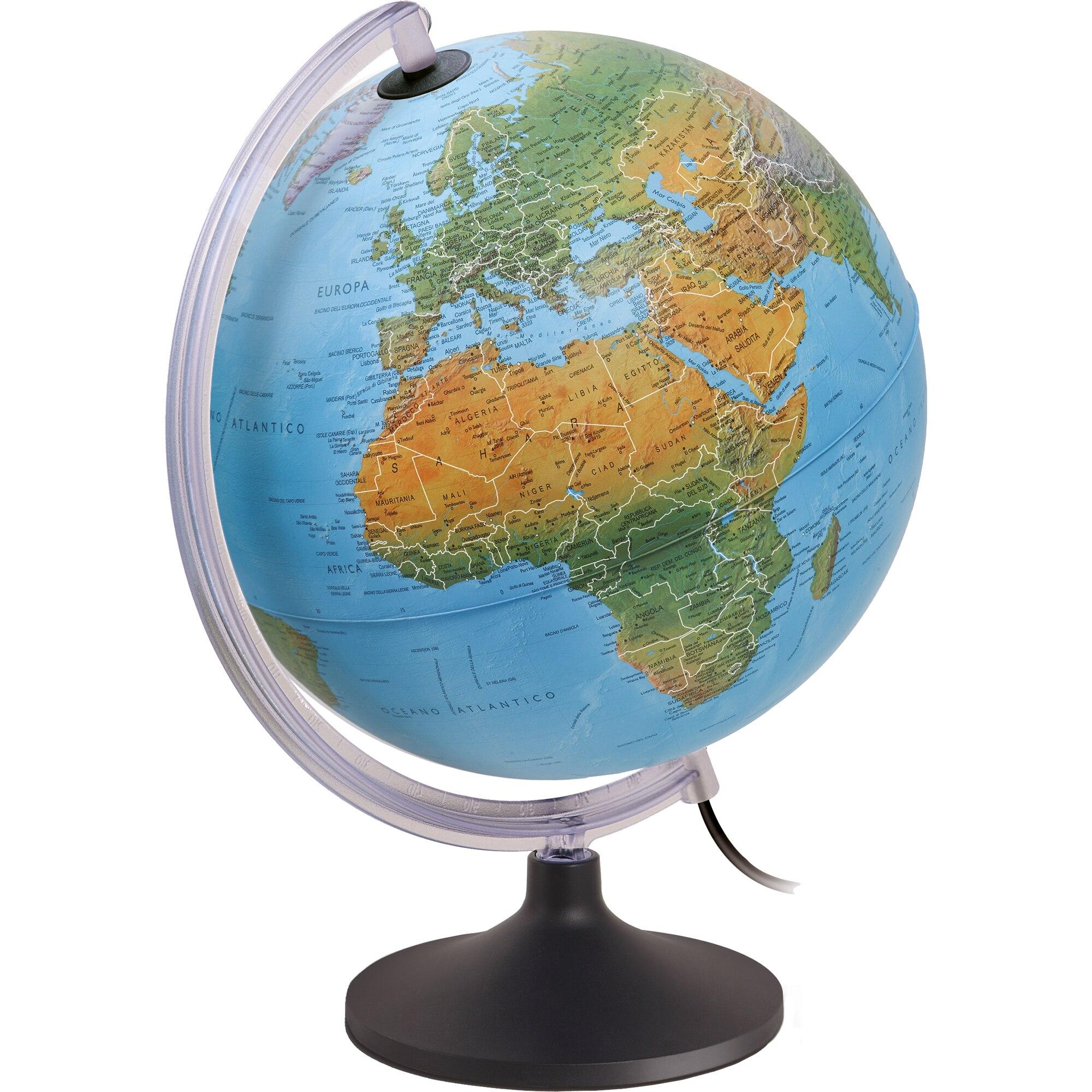 Fotografie Glob pamantesc iluminat Lumierissimo 30 cm cu harta fizica si politica in engleza, capitale si granite iluminate