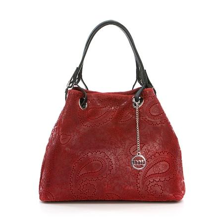 Дамска чанта Mia Tomazzi, Естествена кожа, Червена, WB125126-Rosso (50)