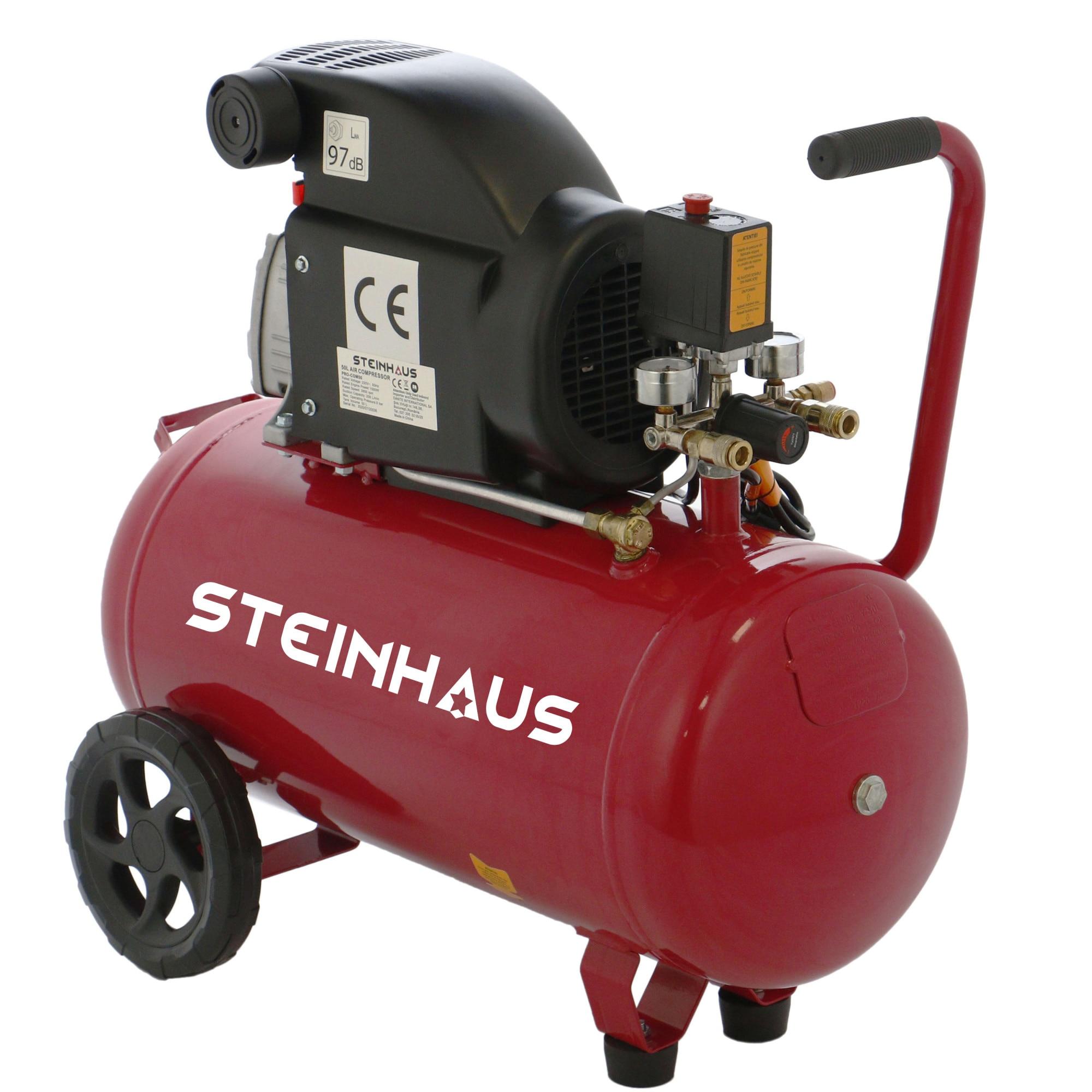 Fotografie Compresor aer Steinhaus PRO-COM50, 50l, 1500W, 2CP, 8bar, 206l/min