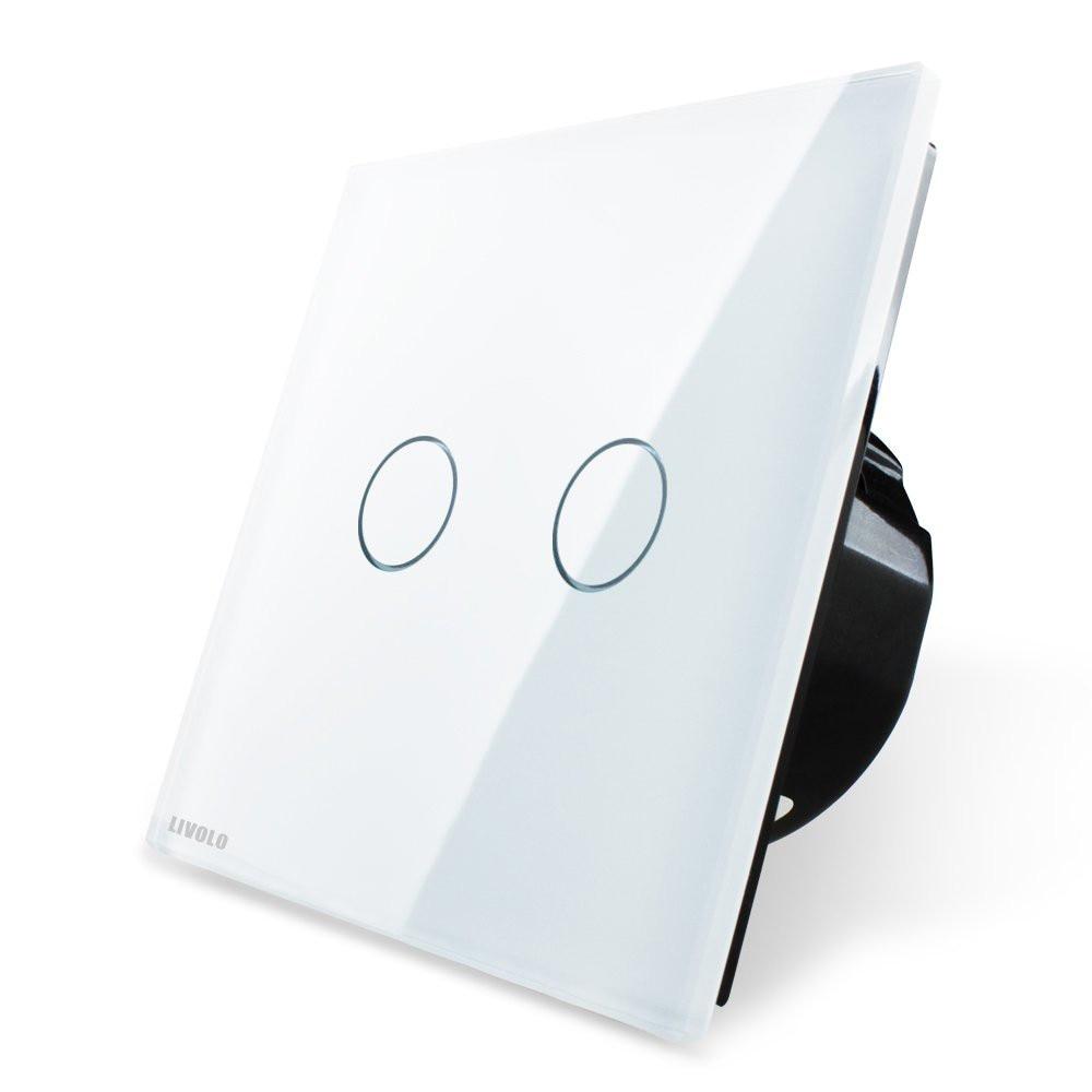 Fotografie Intrerupator dublu wireless cu touch Livolo, din sticla, Alb