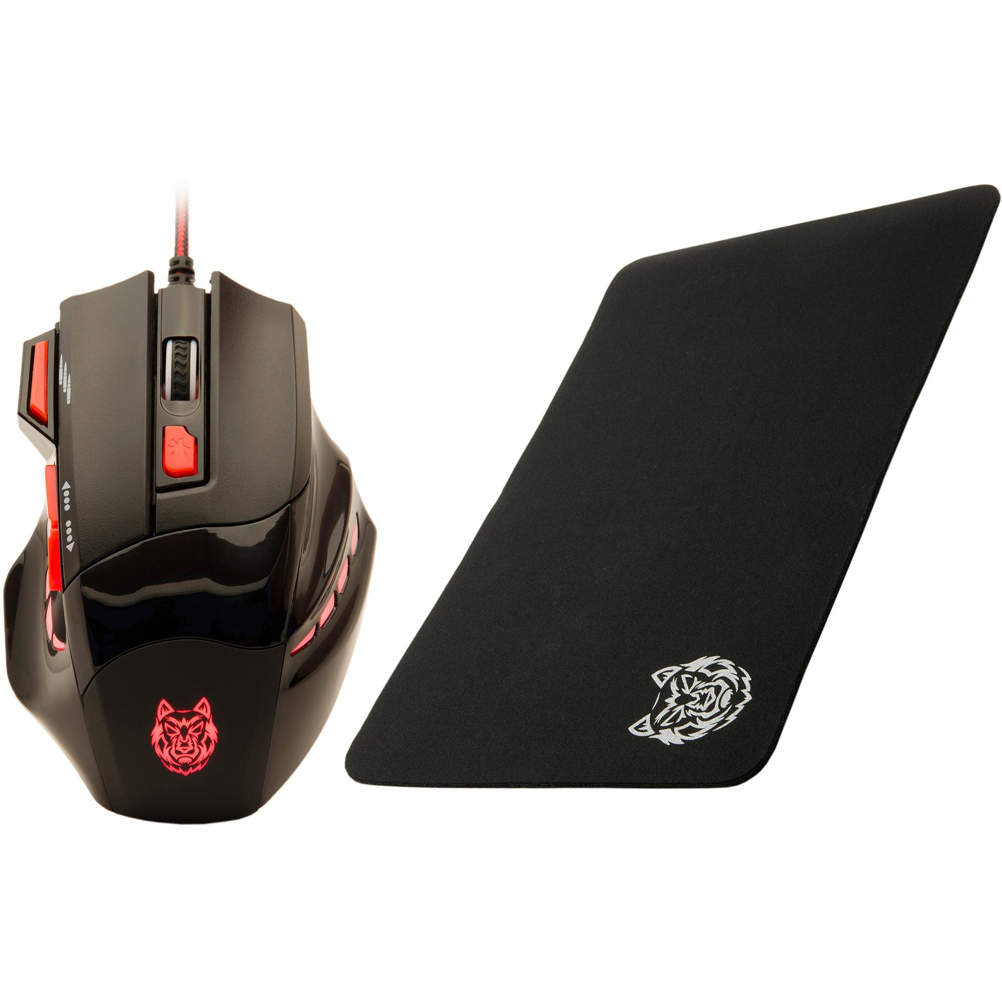 Fotografie Mouse gaming A+ KuaFu 2400 DPI + Mouse Pad A+, Negru