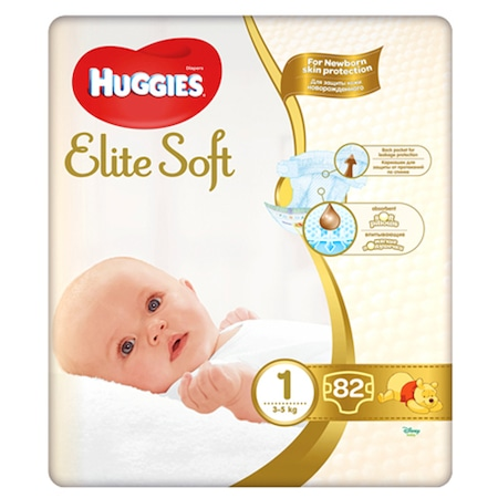 Пелени Huggies Elite Soft 1, 3-5 кг, 82 бр