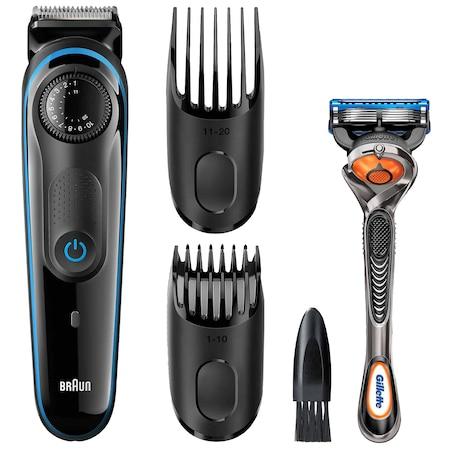 Тример за брада Braun BT3040 + Gillette Fusion FlexBall, Wet&Dry, 39 настройки за дължината, Бял/Син