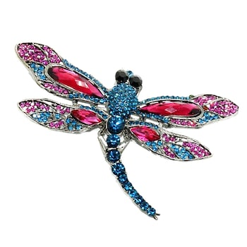 Brosa libelula cristale colorate Bertha 8cm accesoriu elegant