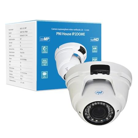 PNI House IP2 DOME 1080P videótérfigyelő kamera, 2.8-12 mm dome varifokális IP-vel, kültéri és beltéri