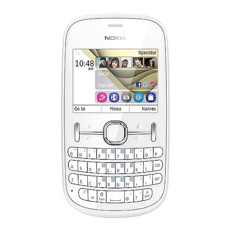 Мобилен телефон Nokia 201 Asha, Бял