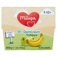 Milupa Frutapura 100% gyümölcspüré, 4 hónapos kortól, Alma és banán, 4 x 100 g