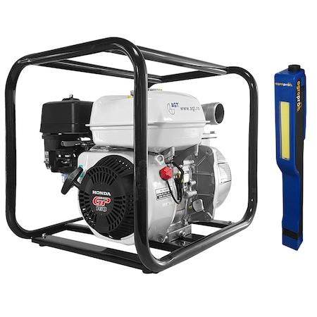 Motopompa pentru apa curata AGT WP 20 HKX cu motor HONDA GP160, 5.5 CP, inaltime refulare 32 m, adancime aspiratie 8 m, 465 l/min, 2 toli, accesorii incluse + Cadou Lanterna Led magnetica AgroPro