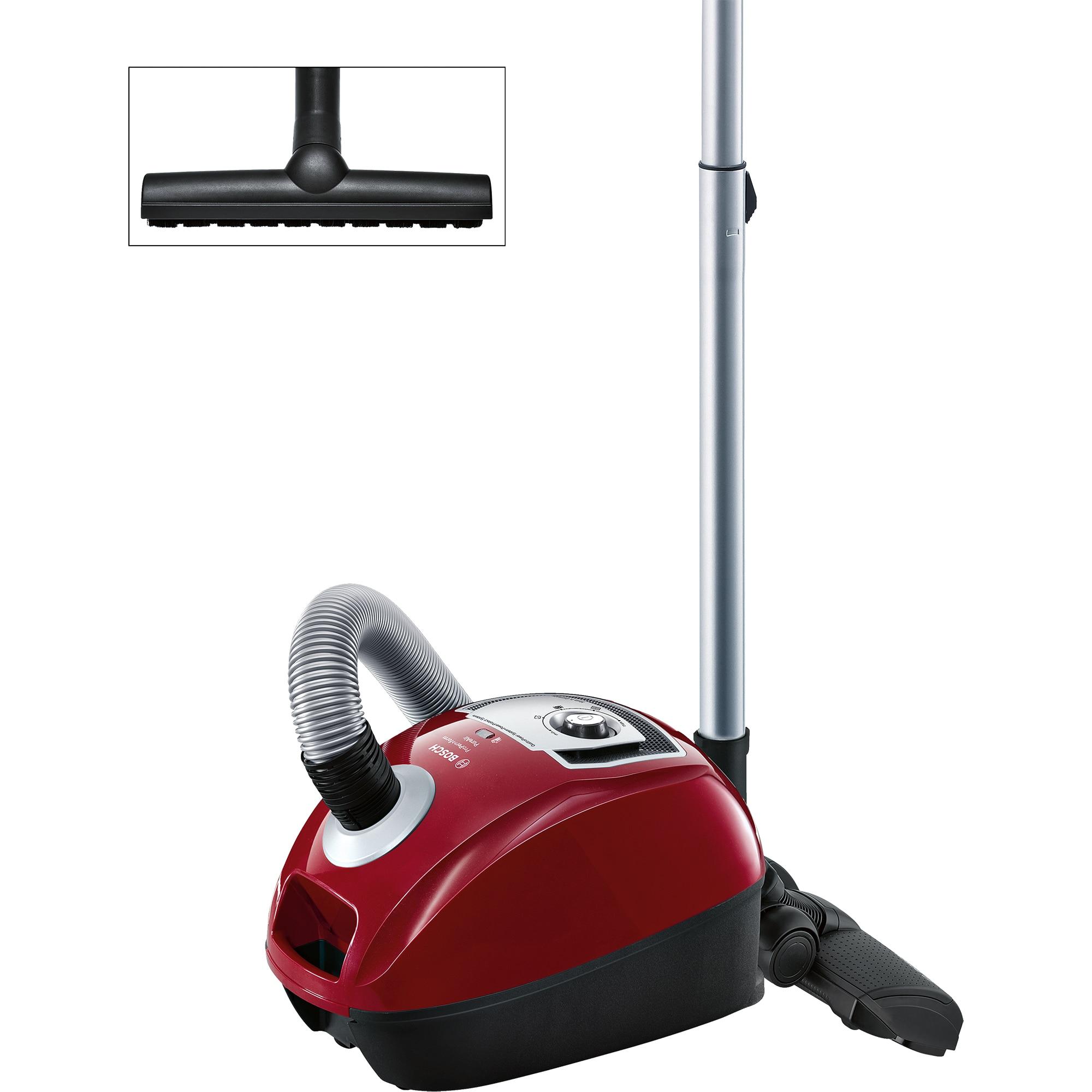 Fotografie Aspirator cu sac Bosch BGL4A500,capacitate sac 4l, clase performante A/A/A/A, Filtru igienic PureAir, Perie pardoseala, Rosu