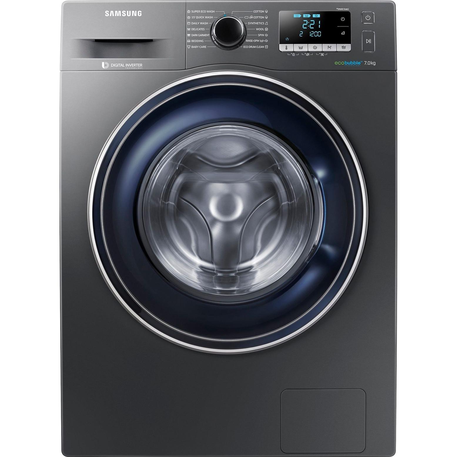 Fotografie Masina de spalat rufe Samsung WW70J5246FX/LE, EcoBubble, Motor Inverter Digital, 7 kg, 1200 RPM, Clasa A+++, 60 cm, Inox