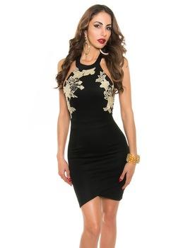 Nyári ruha - csipkés, arany színnel horgolt alkalmi ruha, Fekete