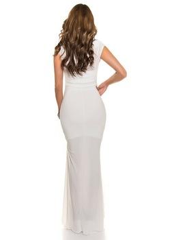 Estélyi ruha - mell alatt strasszos hosszú alkalmi ruha, Fehér