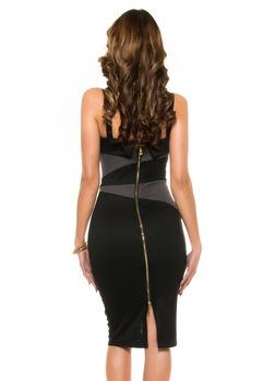Alkalmi ruha - karcsúsító, spagettipántos business ruha, Sötétszürke
