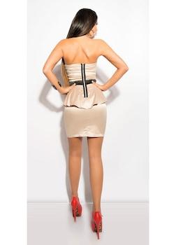 Nyári alkalmi ruha - pánt nélküli, peplum business ruha, Bézs