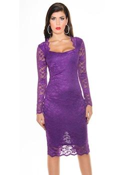 Csipke alkalmi ruha - elegáns női ruha esküvőre, Mályvaszín