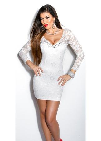 Alkalmi miniruha - csipkés, gyöngyös, elegáns ruha esküvőre, Krémszín