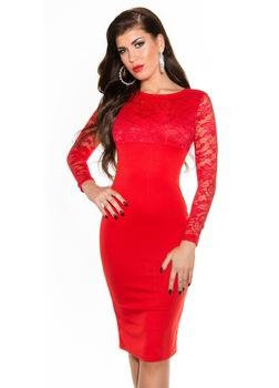 Elegáns alkalmi ruha - csipkés egyberuha, Piros