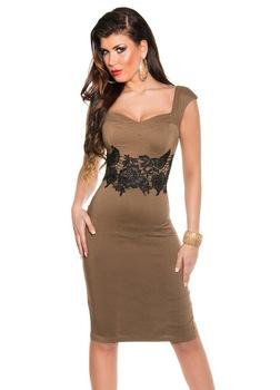 Nyári alkalmi ruha - csipkés, elegáns trendi ruha, Barna