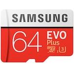 Карта памет Samsung Micro-SDXC EVO Plus 64GB, Клас 10, UHS-I U3 + SD адаптер