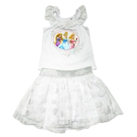 Set tricou fara maneci si fusta, Disney Personaje multiple - Princess, Alb, 6 ani