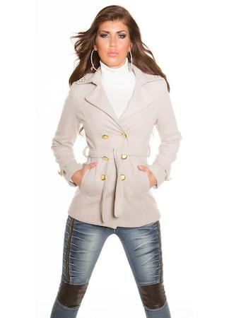 Szövetkabát - divatos, rövid, öves női parka, Bézs