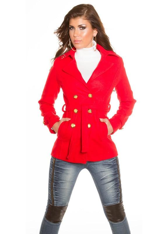 divatos a piros szövet kabát