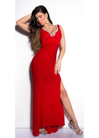 Báli ruha - csipkés, sliccelt, strasszos, hosszú alkalmi ruha, Piros