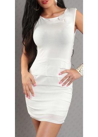 Elegáns ruha - virág díszes, nőies, nyári ruha, Fehér