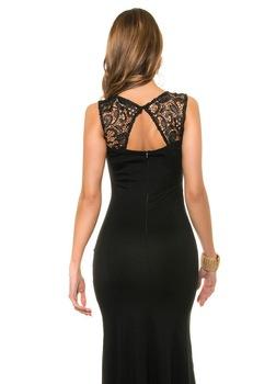 Estélyi ruha - dögös, hosszú, csipkés alkalmi ruha, Fekete