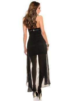 Hosszú alkalmi ruha - elől rövid, hátul hosszú koktélruha, Fekete