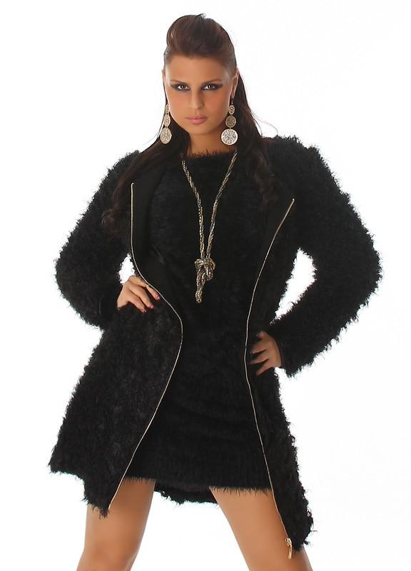 Női télikabát szőrös, vastag, meleg fekete M eMAG.hu