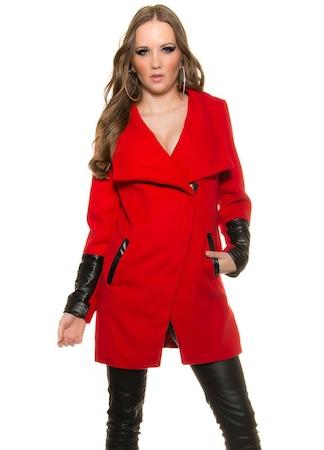 Női szövetkabát - divatos, aszimmetrikus, bőrbetétes, Piros