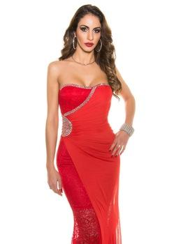Estélyi ruha - átlapolt, strasszos, hosszú alkalmi ruha, Piros