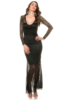 Hosszú estélyi ruha - csipkés, gyönyörű alkalmi ruha, Fekete