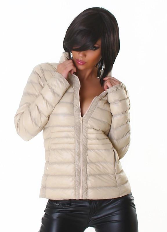 Női dzseki trendi, steppelt, puha bézs L eMAG.hu