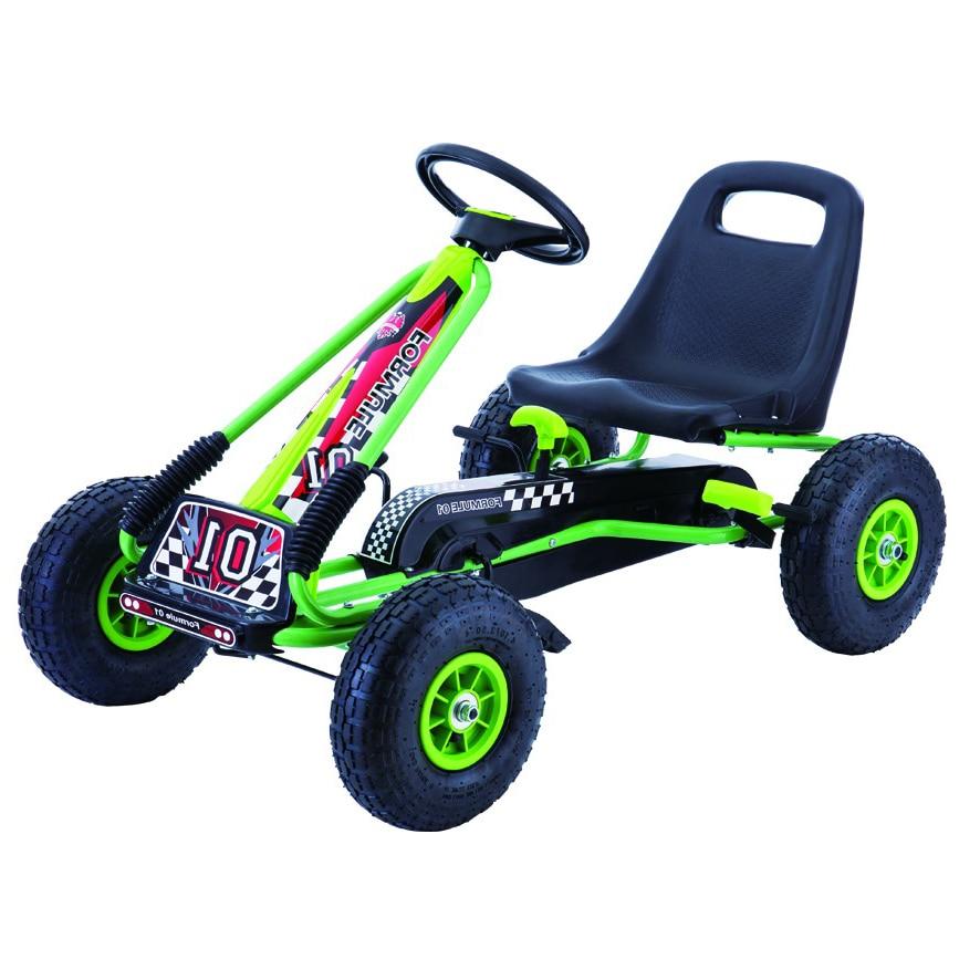 Fotografie Cart M-Toys cu pedale si volan, Negru/Verde