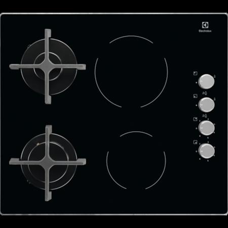 Плот за вграждане Electrolux EGE6172NOK, 2 Газови зони, 2 Стъклокерамични зони, Ел.запалване, Черен