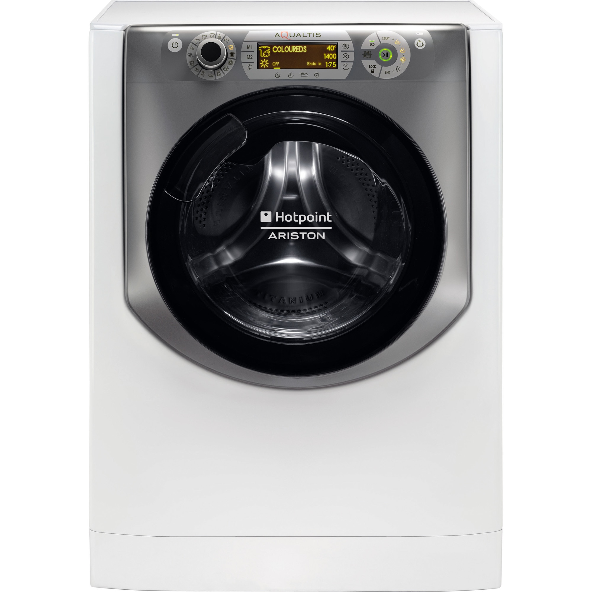 Fotografie Masina de spalat rufe cu uscator Hotpoint AQD970D49, 1400 RPM, Spalare 9 kg, Uscare 7 kg, Clasa A, Motor Inverter, Display LCD, Alb