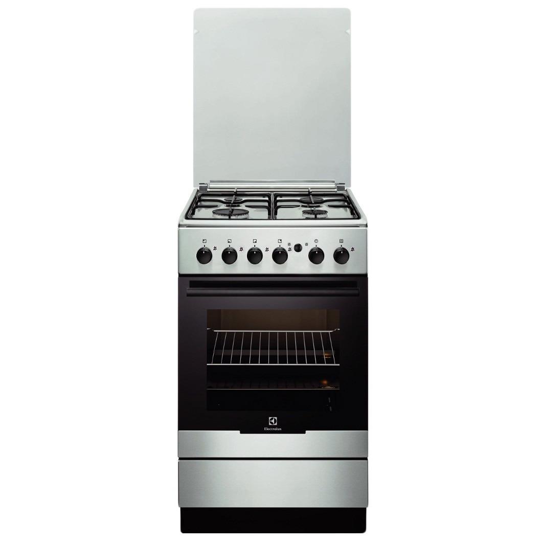 Fotografie Aragaz Electrolux EKG51154OX, Gaz, 4 Arzatoare, Aprindere integrata plita/cuptor, Grill, Rotisor, 50 cm, Inox